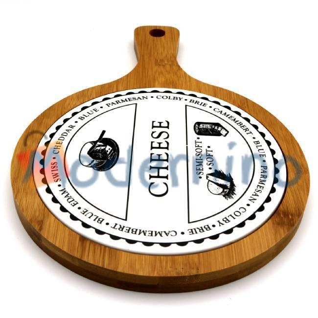 تخته سرو پنیر بامبو و سرامیک طرح گرد دسته دار