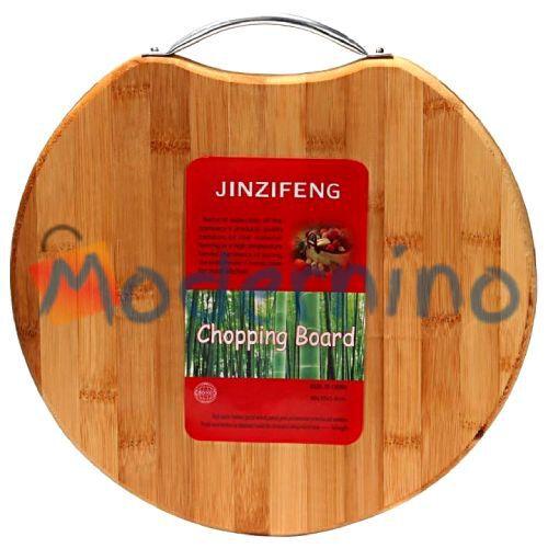 تخته برش بامبو Jinzifeng طرح گرد دسته فلزی سایز بزرگ