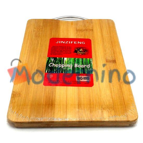 تخته برش بامبو Jinzifeng طرح مستطیل دسته فلزی سایز کوچک