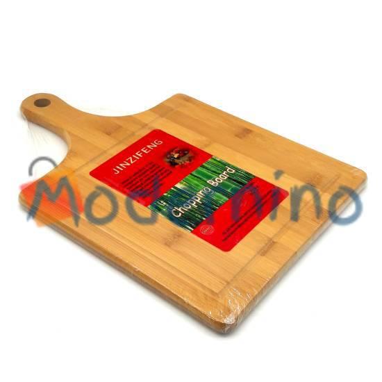 تخته برش و سرو بامبو Jinzifeng طرح مربع دسته دار سایز متوسط