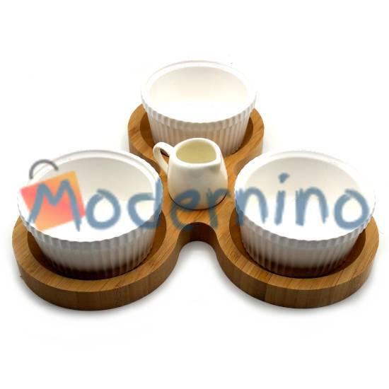 ست سرو بامبو سرامیک 5 پارچه مدل تریپل