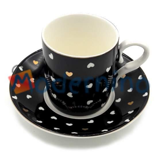 فنجان و نعلبکی قهوه خوری پرسلین طرح مشکی قلب دار