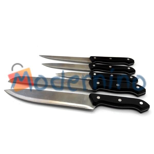 سرویس چاقو با استند چوبی 6 پارچه