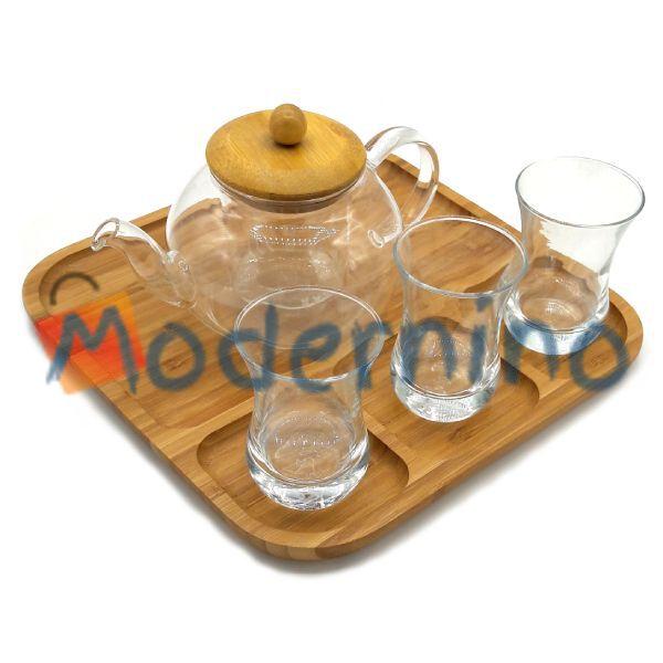 سرویس چای خوری بامبو بلور پیرکس 3 نفره مدل Alara