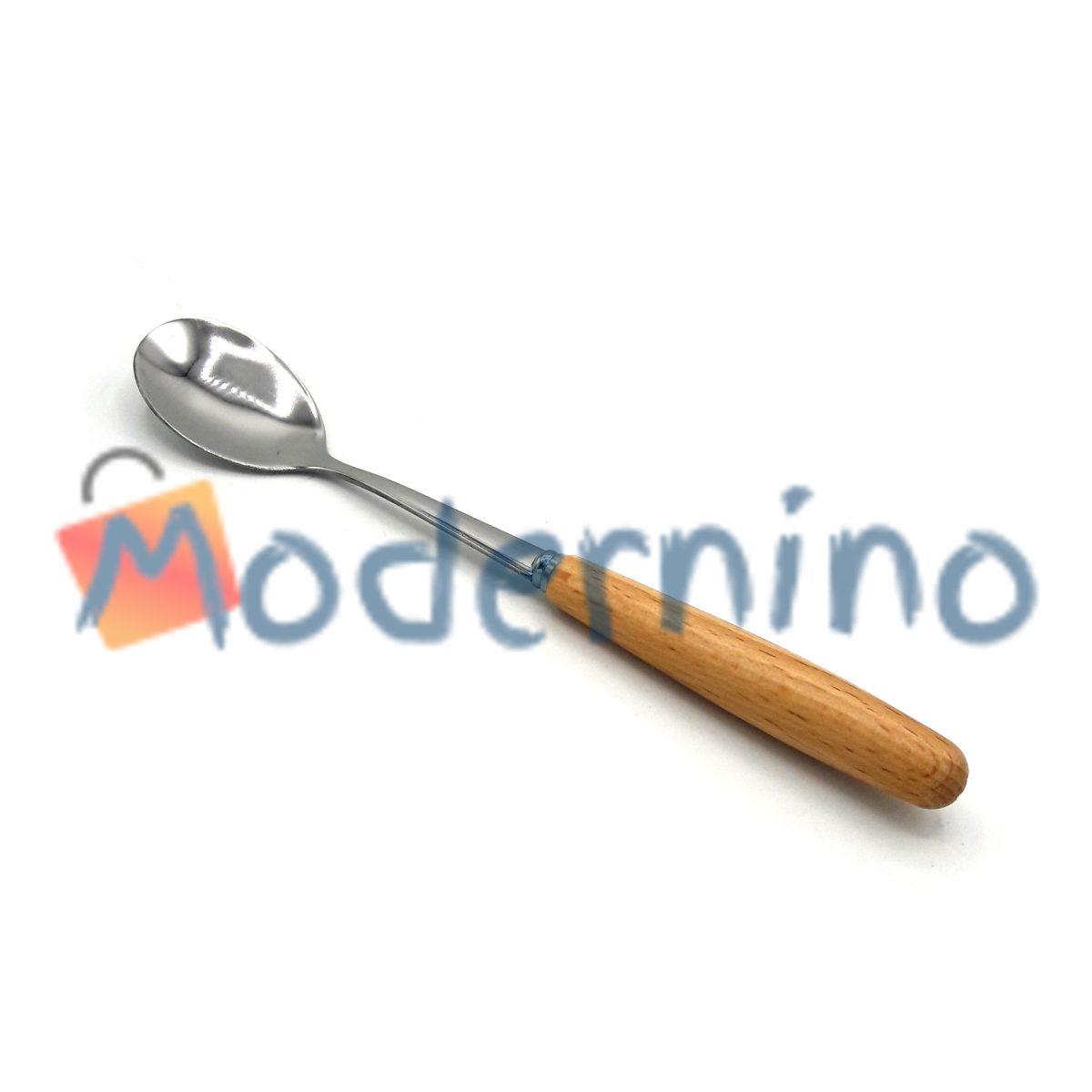 قاشق چای خوری استیل دسته چوبی