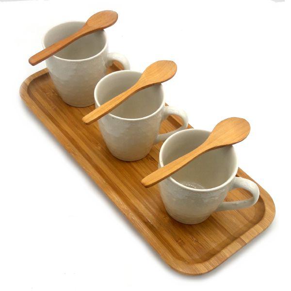 سرویس سرو چای بامبو سرامیک 3 نفره مدل Ayla