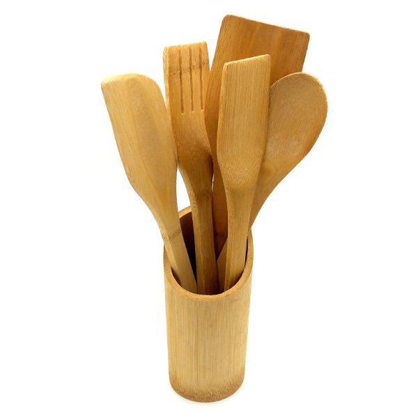 ست 6 پارچه کفگیر و قاشق بامبو با استند