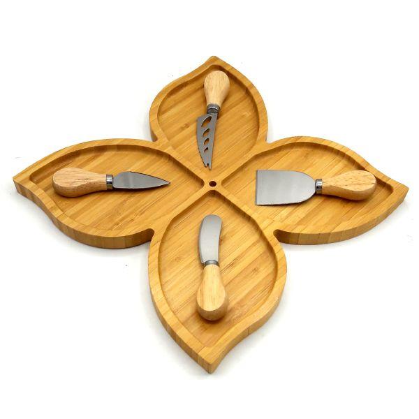 ست سرو پنیر بامبو 5 پارچه مدل Flower