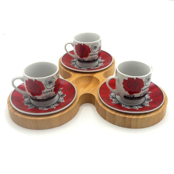سرویس قهوه خوری بامبو سرامیک 7 پارچه مدل Love