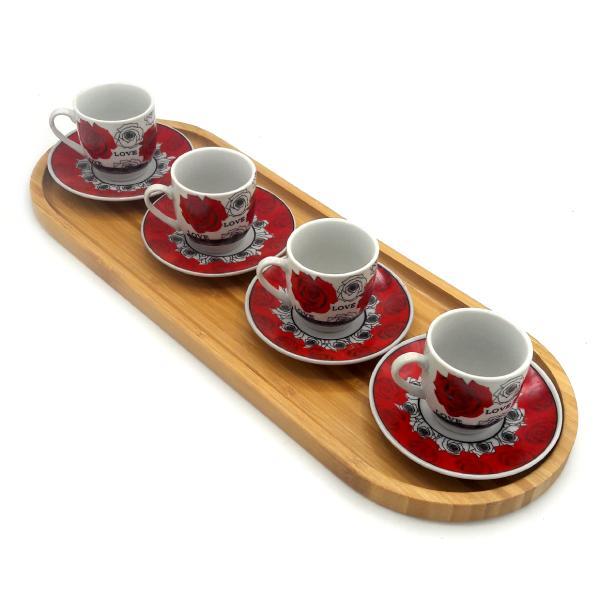 سرویس قهوه خوری بامبو سرامیک 9 پارچه مدل Love