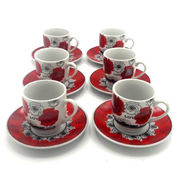 ست فنجان و نعلبکی قهوه خوری 6 نفره مدل Love