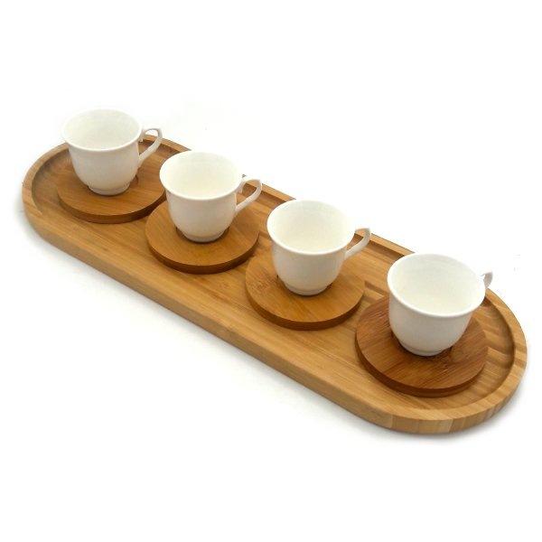 سرویس قهوه خوری بامبو و چینی 9 پارچه مدل Margaux