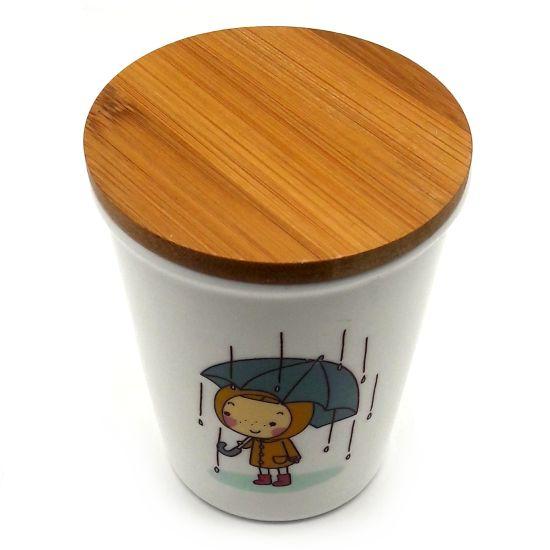 لیوان دخترانه با درب بامبو طرح باران