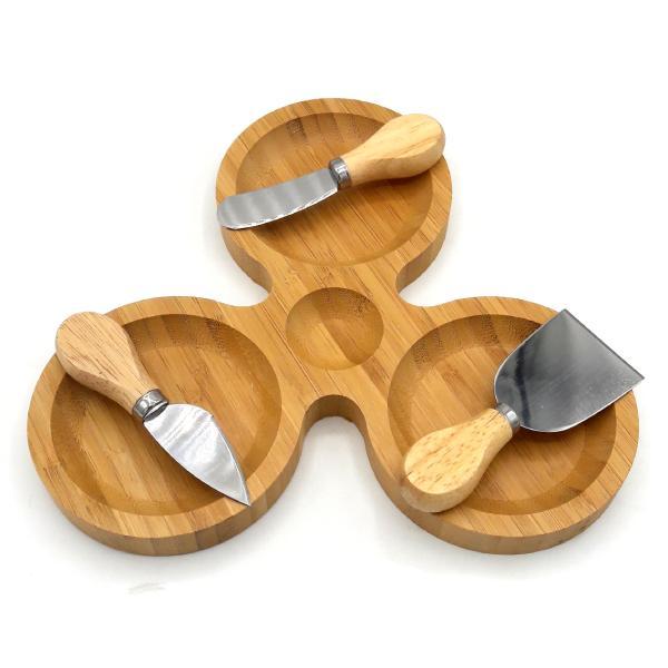 ست سرو پنیر بامبو 4 پارچه مدل Triple